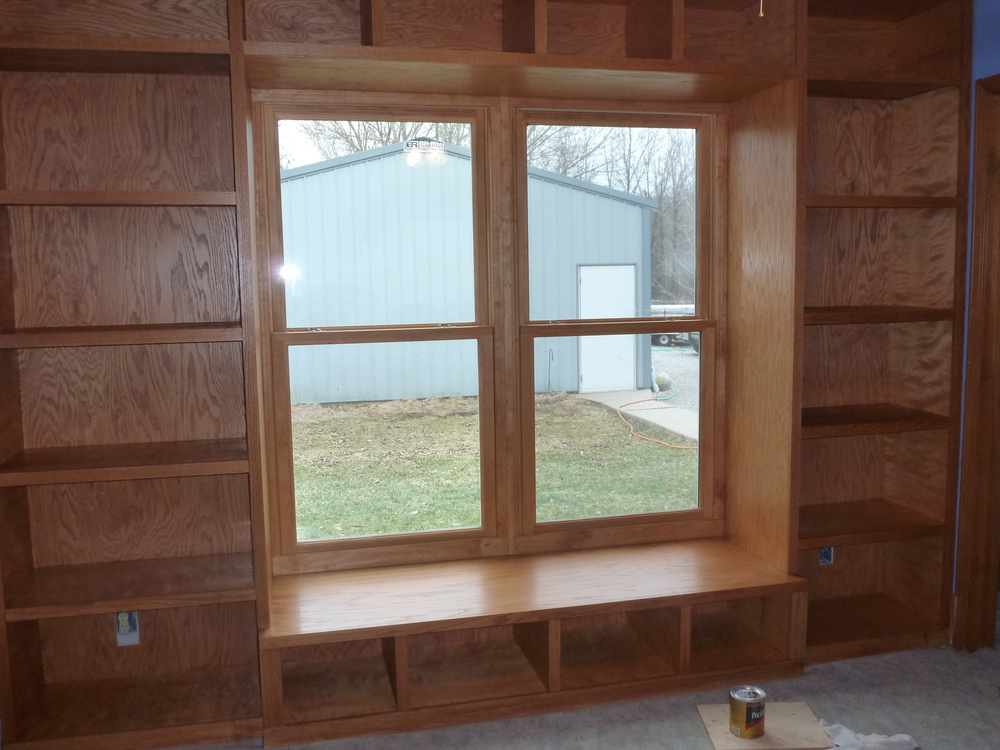 Builtin Window Seat & Shelves