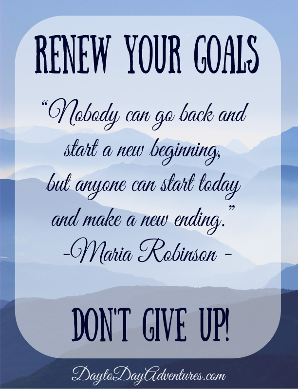 Renewing Goals - DaytoDayAdventures.com