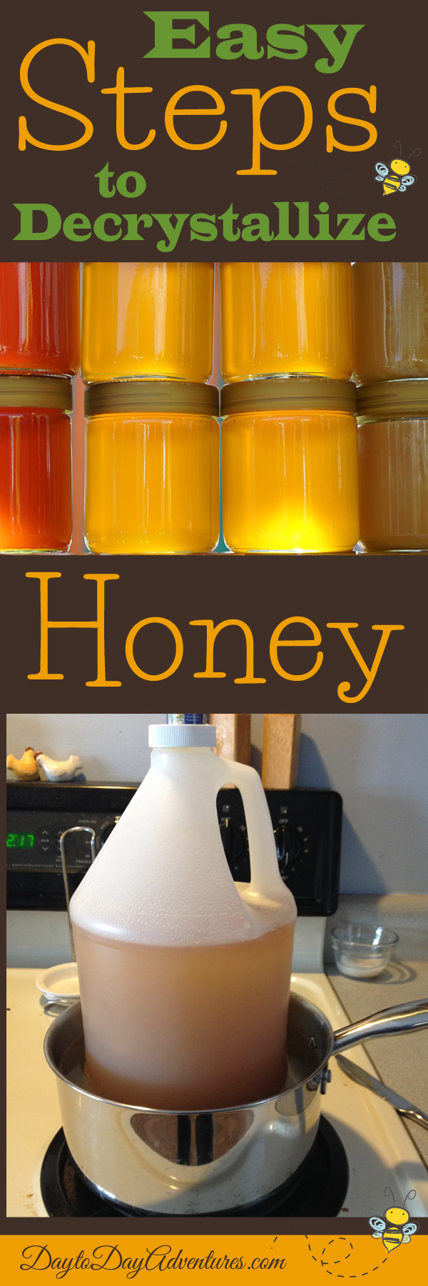 Sweet Honey is wonderful but it can become crystallized.  No problem.  Use these easy steps to decrystalize your honey - DaytoDayAdventures.com