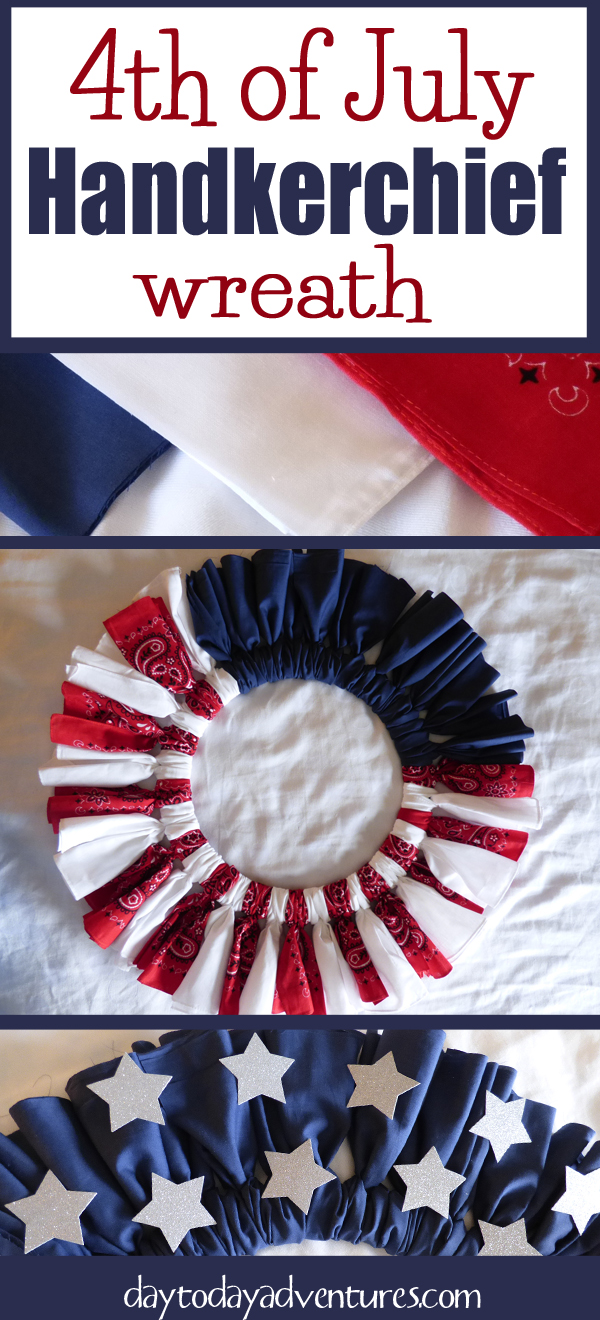 Need a patriotic wreath?  A handkerchief wreath is inexpensive and easy to make! - DaytoDayAdventures.com