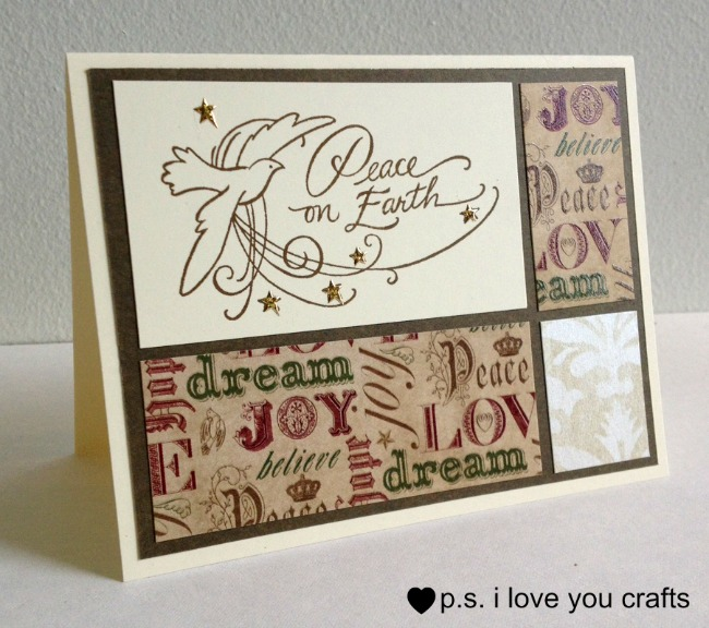 Here are three Easy Handmade Christmas Cards for you to make using only a few tools, stamps, and supplies.  They are very classy looking with simple layout designs.  I hope this gives you ideas for creating Homemade Christmas Cards this year.