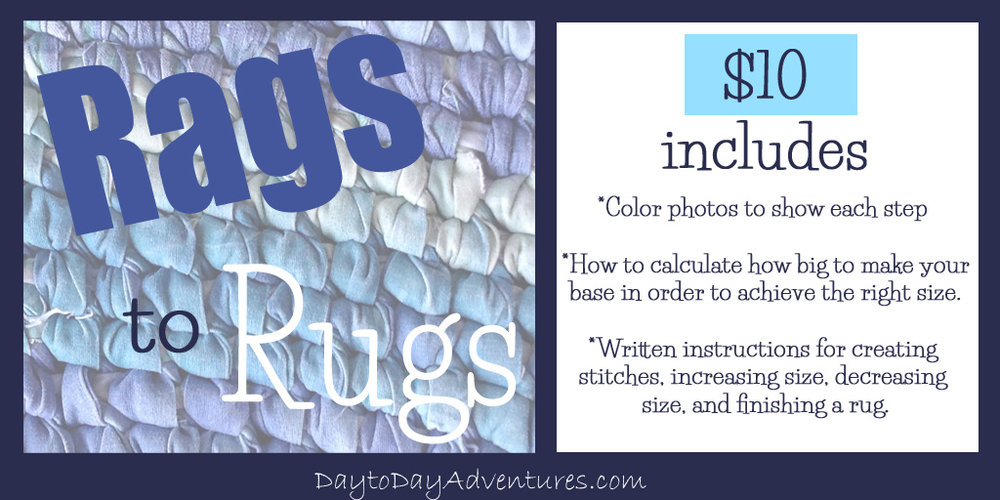 Want to make your own rag rug?  Check out the ebook Rags to Rugs!  - DaytoDayAdventures.com