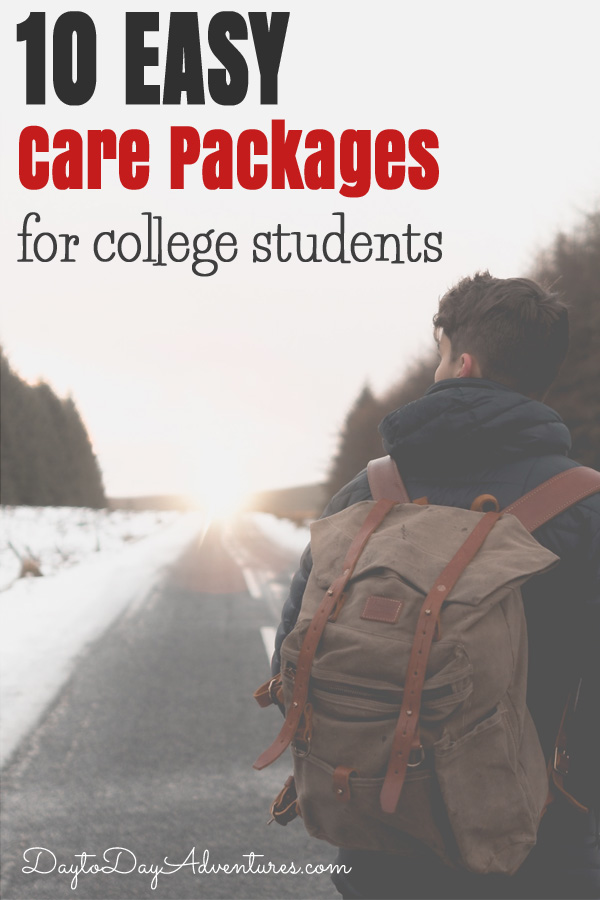 Need some ideas for care packages for your college student?  Check out these easy ideas! - DaytoDayAdventures.com