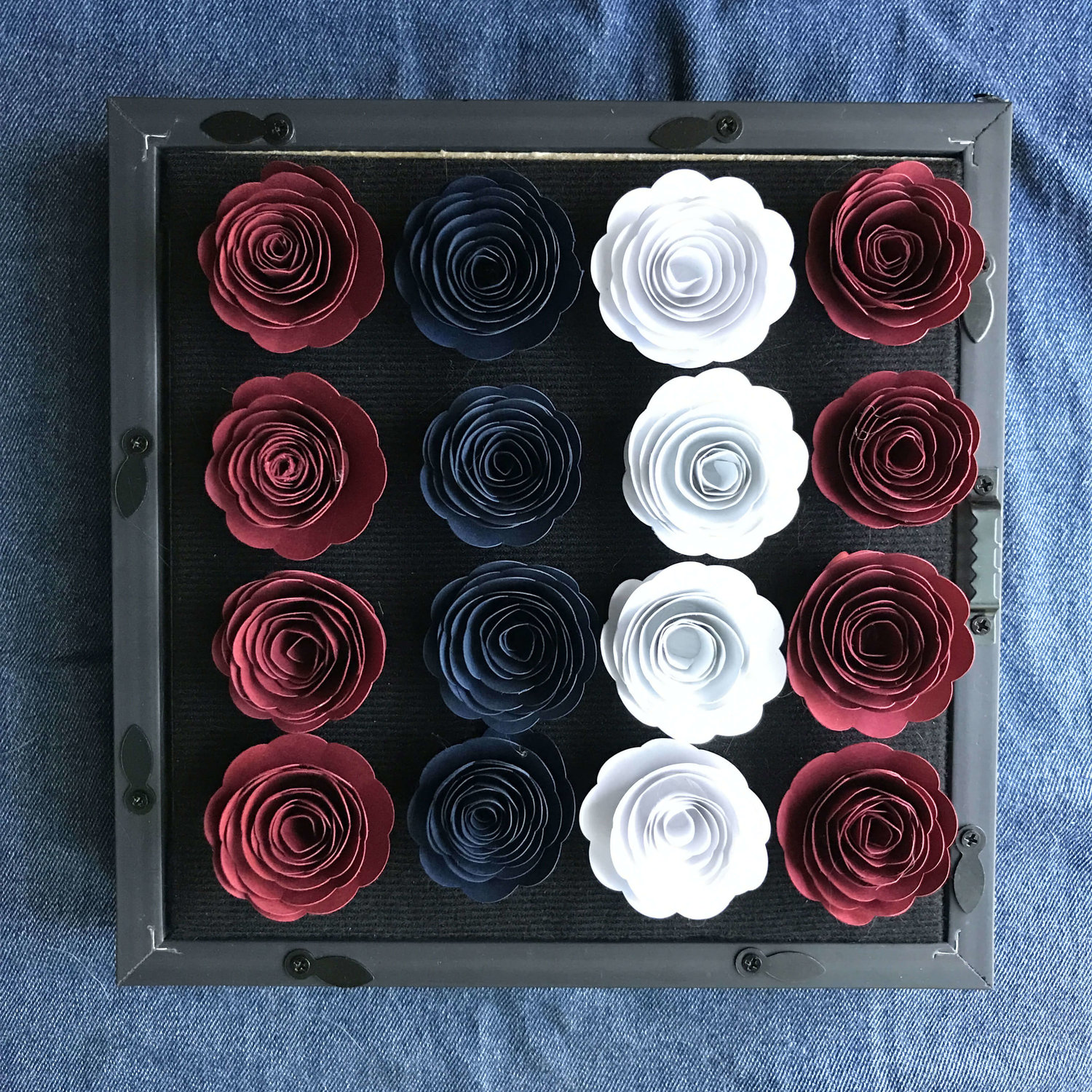 Patriotic Paper Flower And Star Shadowbox Day To Day Adventures