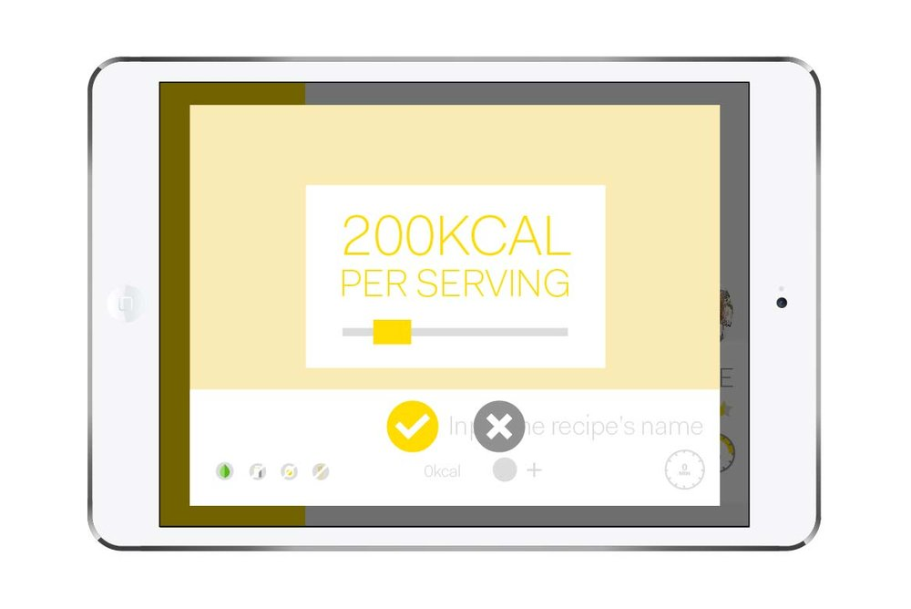 The system automatically provides calorie information depending on the ingredients, but you can also adjust it manually.