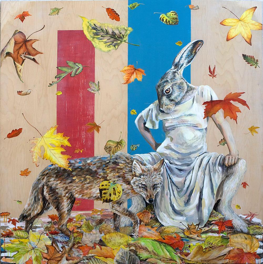 """Hunter or Prey"",acrylic on panel, 152cm X 152cm, 2013"