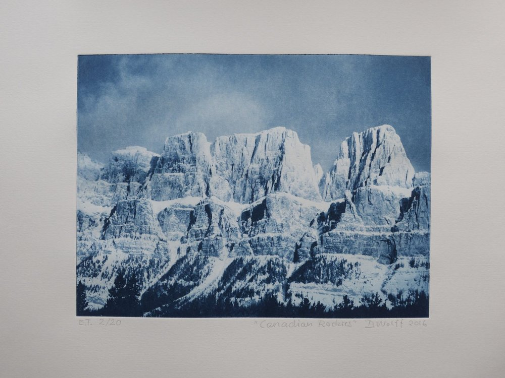 This is a fotogravure print which I made, using one of my photoes taken while passing the Canadian Rockies some years ago.