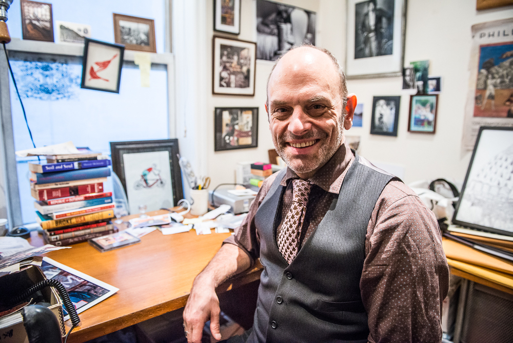 Brennan in his home office in the East Village