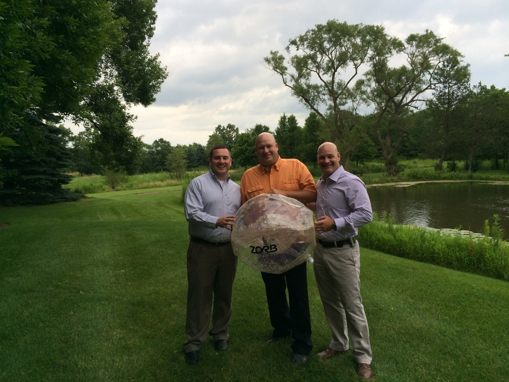 Ray Bohac, Kevin Barton, and Bill Beach with Zorb after several tests with probe prototypes