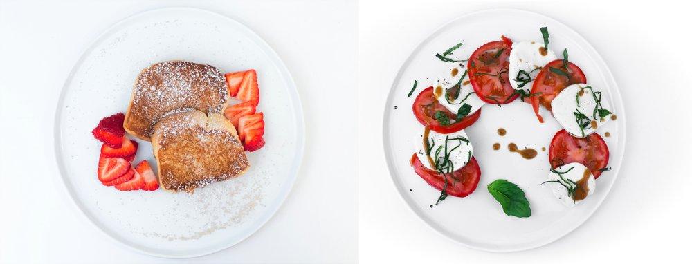 Cinnamon brioche toast // Seasonal heirloom & basil salad