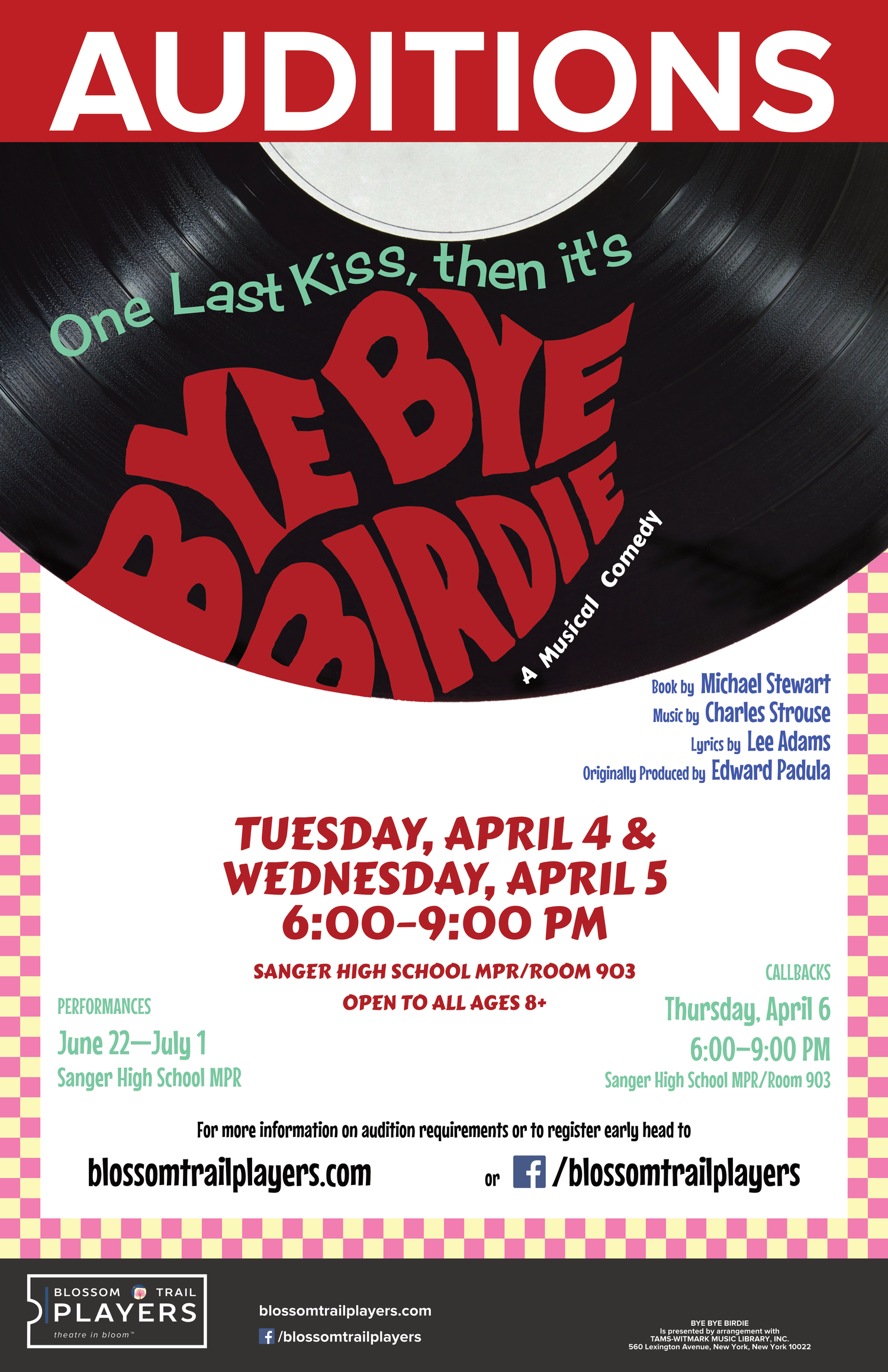 Blossom Trail Players Announces Open Auditions For Third Season Production BYE BIRDIE