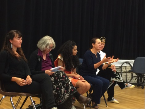 L to R: Emilie Monnet, Marjorie Beaucage, Dione Joseph, Carol Greyeyes, Kahente Horn-Miller.  Photo by Annie Smith.