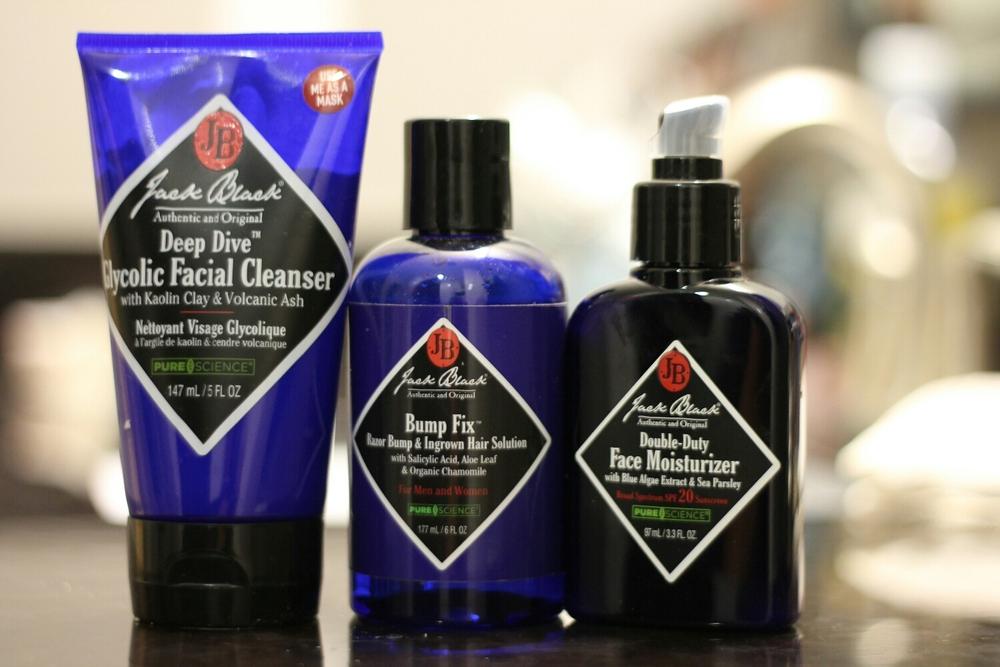 Jack Black Facial Cleanser, Bump fix, & Moisturizer.