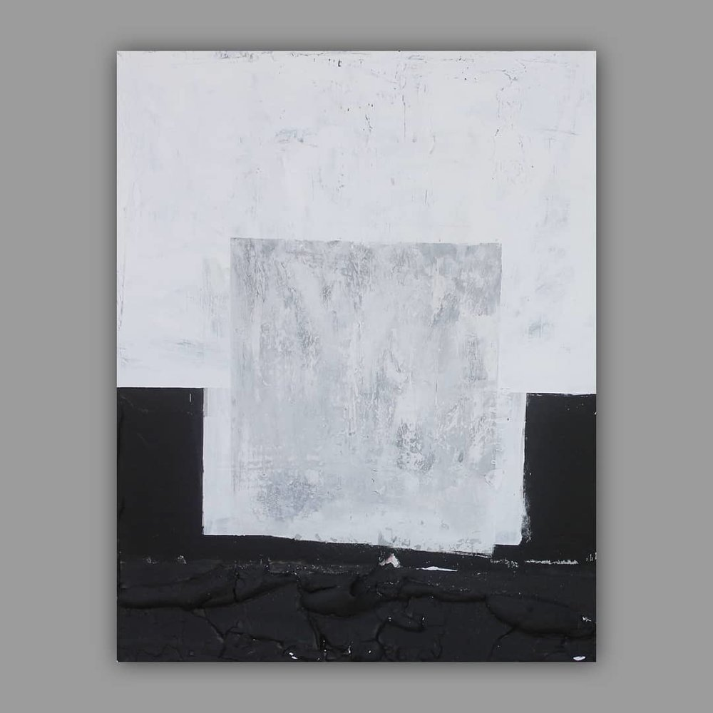 Untitled, (BlkNWht), 2018  Mixed Media on canvas  24 inch by 30 inch