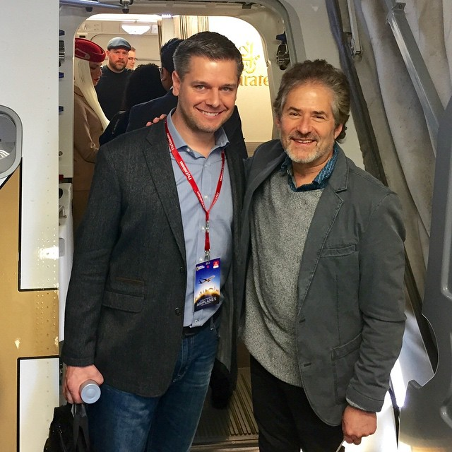 Producer/Director Brian J. Terwilliger and Composer James Horner board an Emirates A380 for the in-flight premiere.