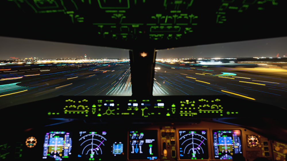 Cockpit view during nighttime landing into Memphis, Tennessee.