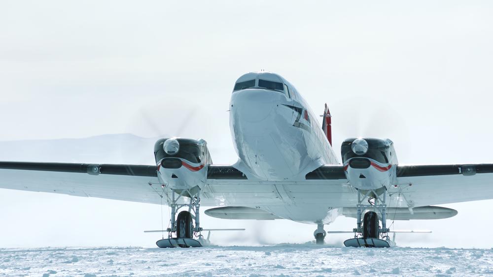 DC-3 taxiing in Union Glacier, Antarctica.