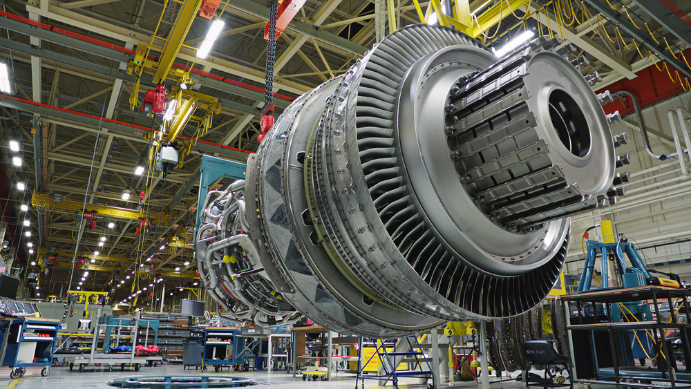 Jet engine in production at GE factory in Durham, North Carolina.