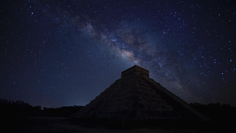 Starry night above El Castillo, Chichen Itza, Mexico.
