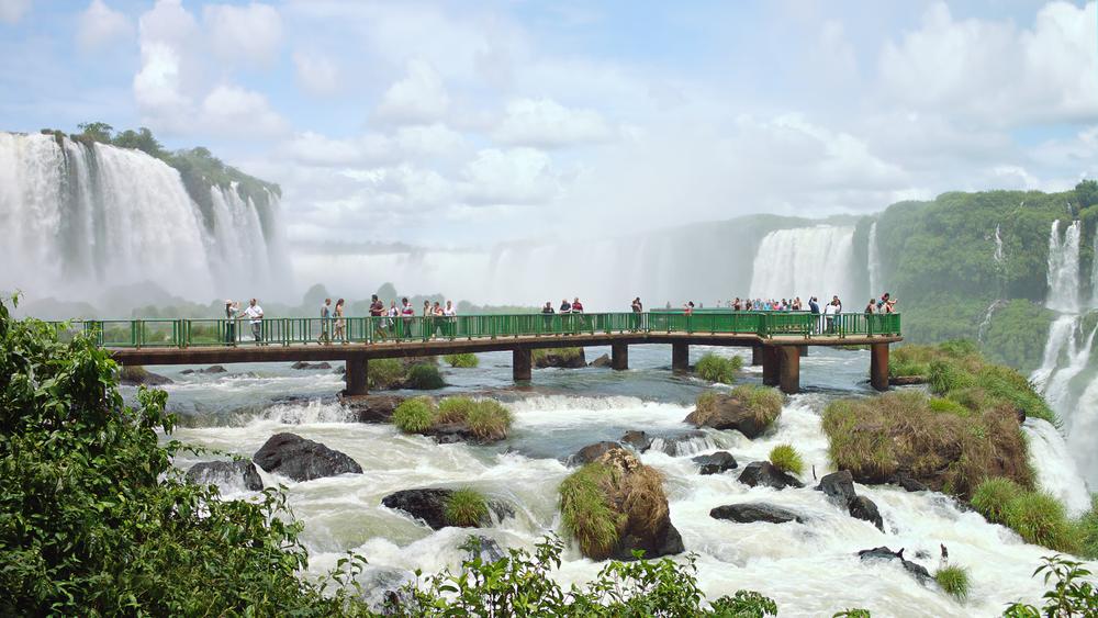 Platforms overlooking waterfalls in Iguazu Falls, Brazil.