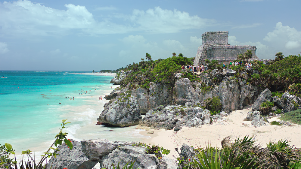 Famous coastline of Tulum, Mexico.