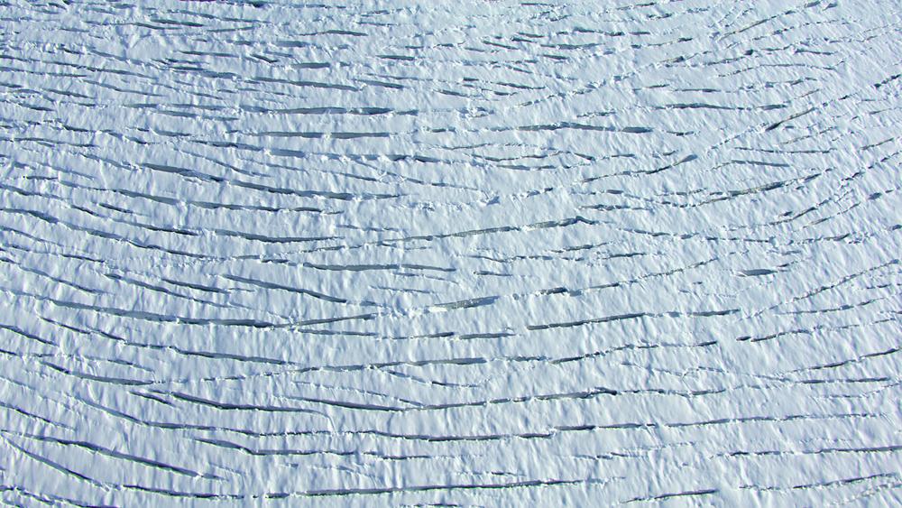 Aerial shot of glacier on Denali in Alaska.