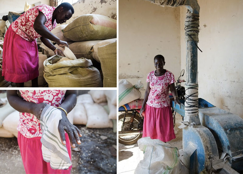 Annette at her cassava flour business.