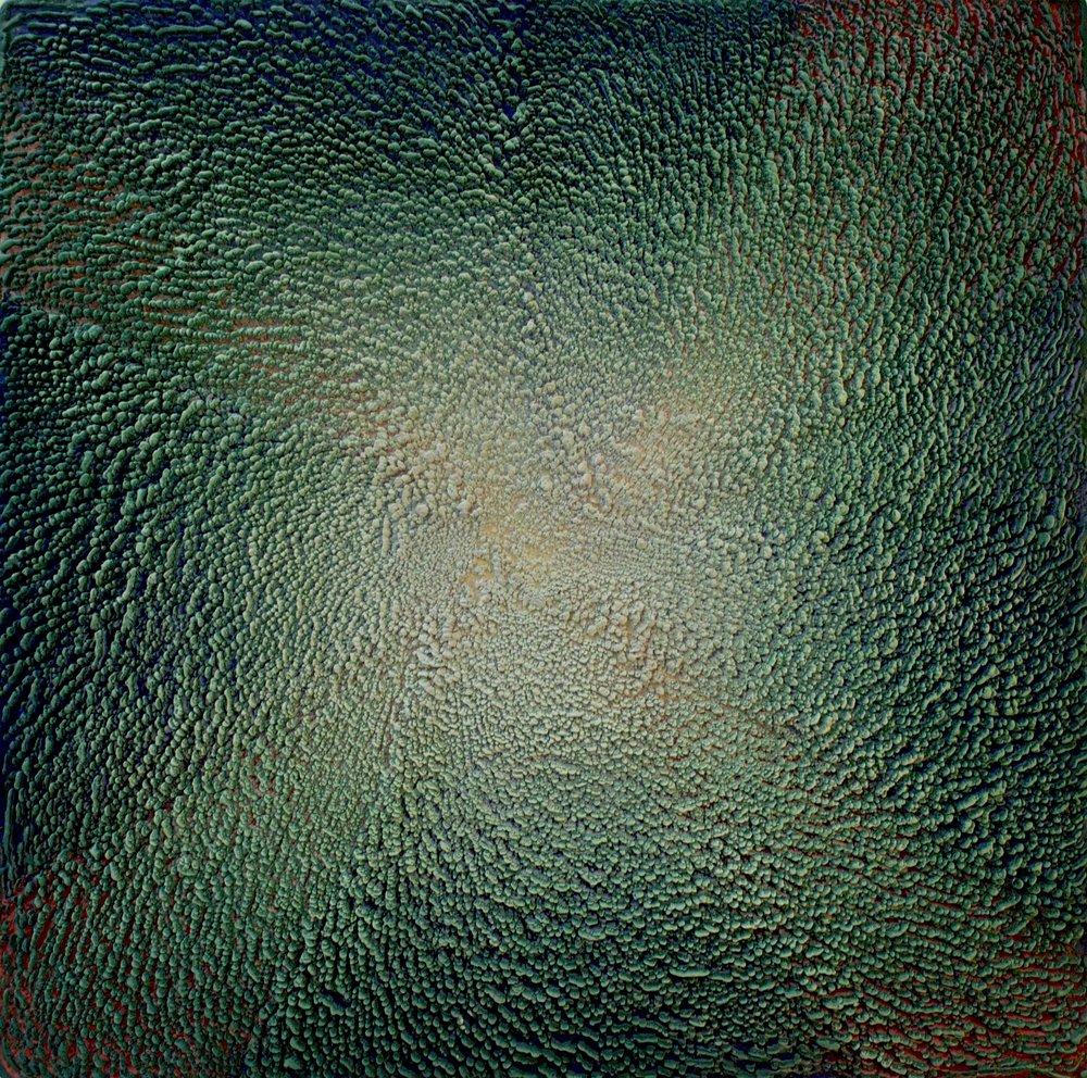 Rowena Boyd   The Cosmic Egg , 2016  Encaustic on board  98 x 98cm