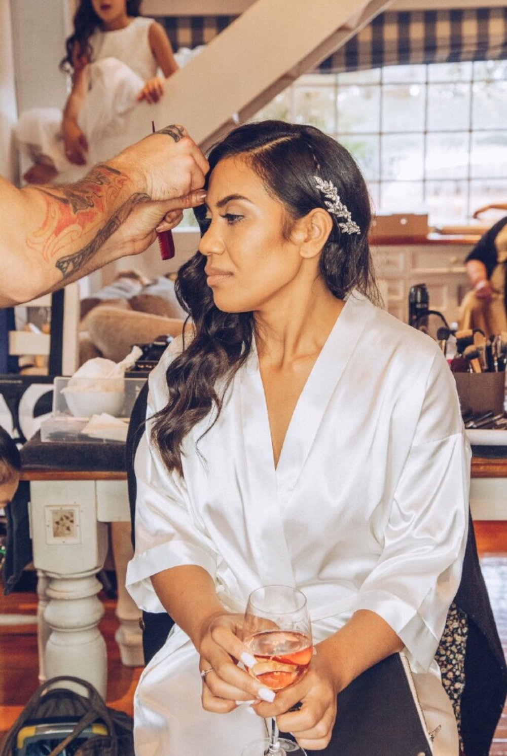 Bride $120.00 - This service is offered when booked with one or more bridesmaids. Feel picture perfect with a 60-80 minute Bridal makeover. This includes a touch-up kit including blot paper & lipstick for you and your bridesmaids.