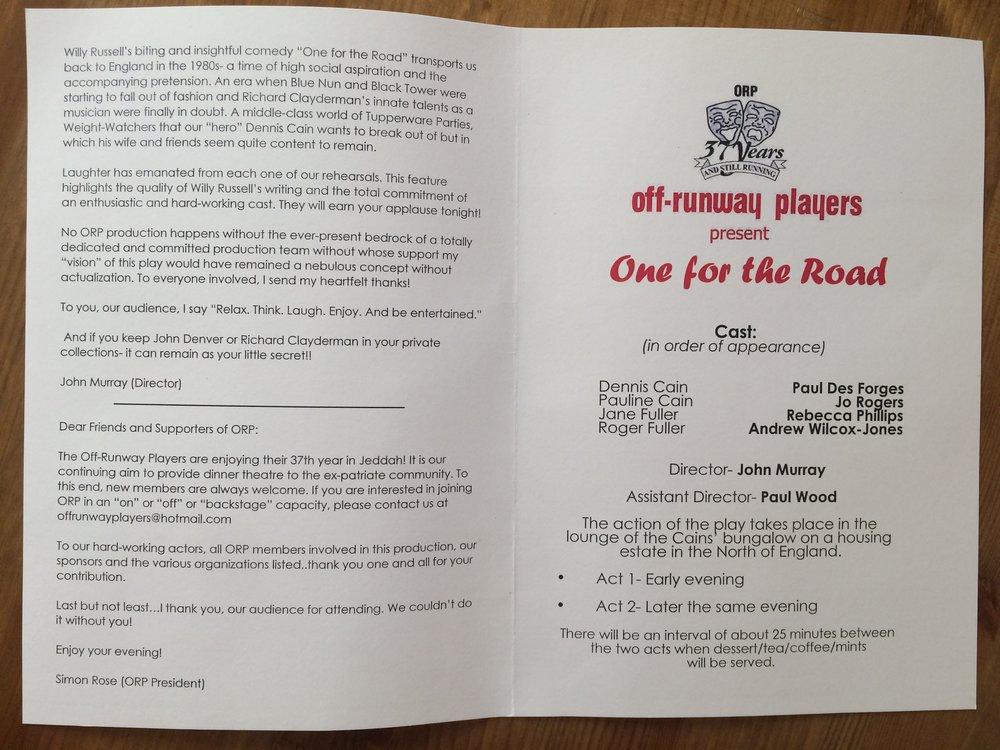 """Zaproszenie na przedstawienie """"One for the Road"""". Zdjęć z samego przedstawienia nie mam, bo robienie ich było zabronione."""