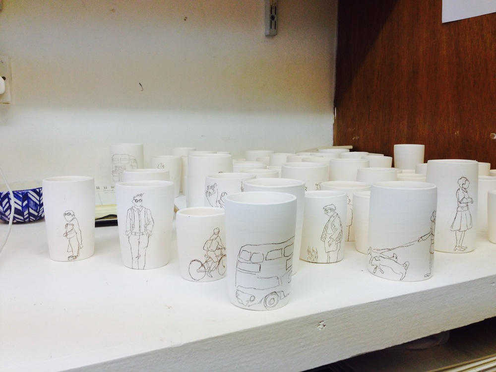 Helen's series of little pots for Ceramic Art London in progress