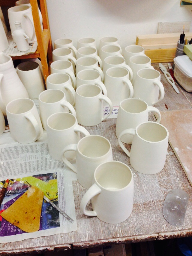 Some slip cast mugs in progress