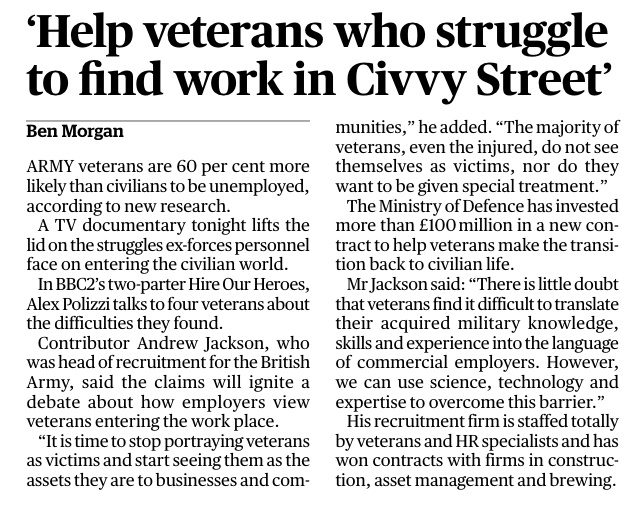 Help Veterans who Struggle to Find Work in Civvy Street