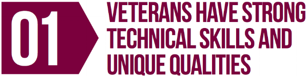 Veterans have strong technical skills and unique qualities