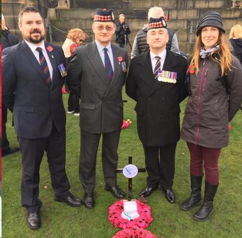 Shaun (left) during Remembrance Day.