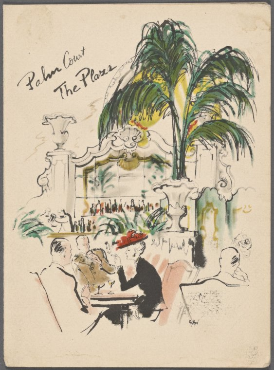 A 1959 advertisement for mar-tea-nis at the Plaza's Palm Court, from the NYPL Digital Gallery.