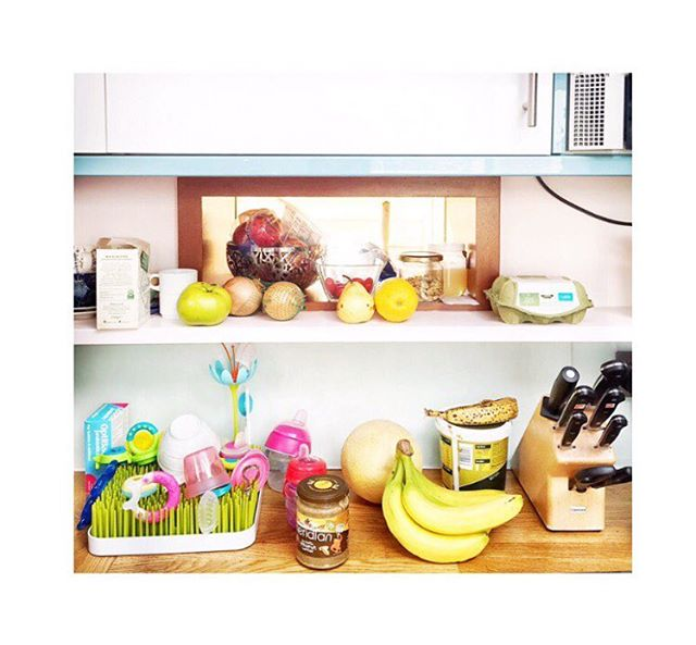 A relatable & 🌈-hued scene from a north London kitchen this morning. 🍌This month on @olympiamonthly we are going to talk about kitchens and all the things good, going-bad and delicious therein. 🍋Stating our intentions anyway in the link up above 🍉  #kitchens #bananas #work #london #morning #breakfast #merrymonthofmay #maldonseasalt #peanutbutter #whatsforbreakfast #kitchencounters