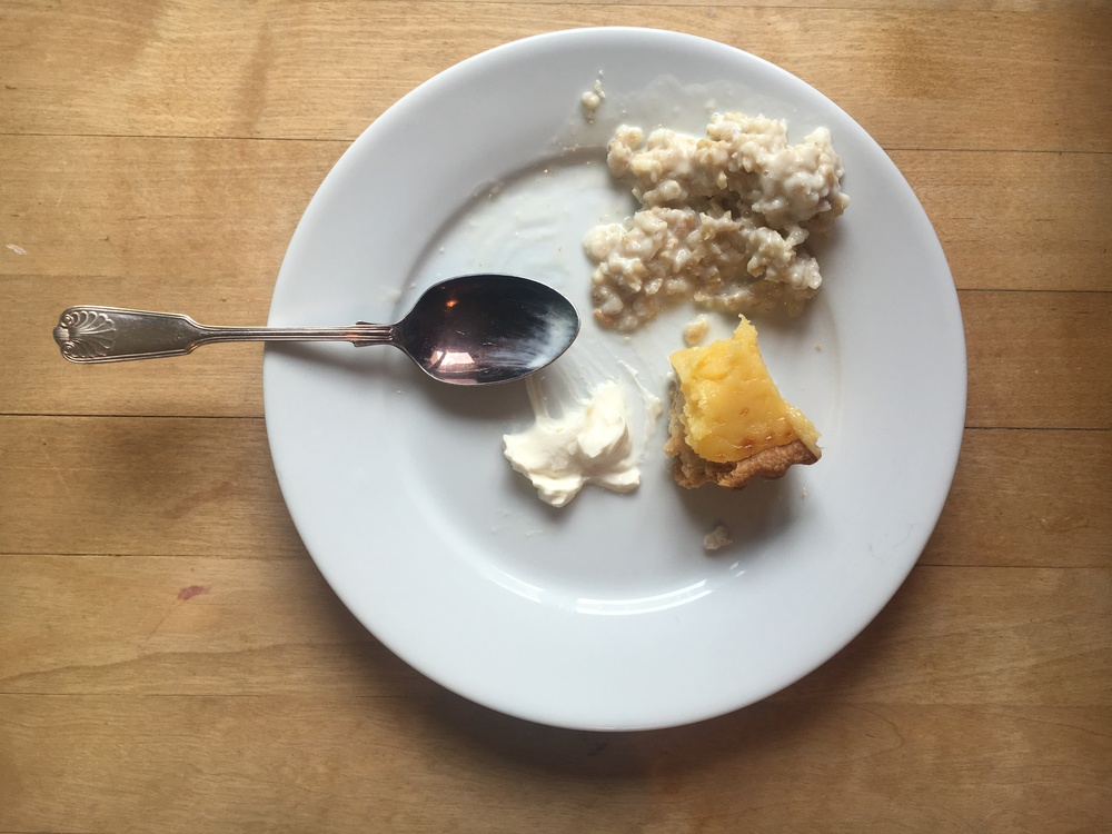 What's better than lemon tart with creme fraiche and porridge on the side? NOT MUCH.