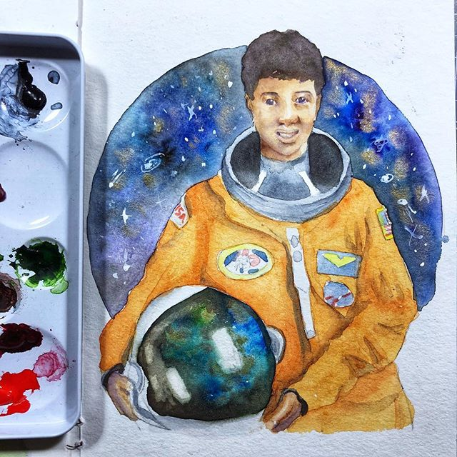 #DrMaeJemison is the first #AfricanAmerican woman to enter space on the spaceship #Endeavour. She holds nine honorary doctorates and inspired many black women to enter into space related fields.  Not feeling so well so had a hard time with this one. Also super jealous of everyone who went to see #blackpanther already! • • • • • #blackhistorymonth #astronaut #space #spacetravel #space exploration #watercolor #watercolorgalaxy #colorsplash #illustratedwoman #illustration #rebelgirls