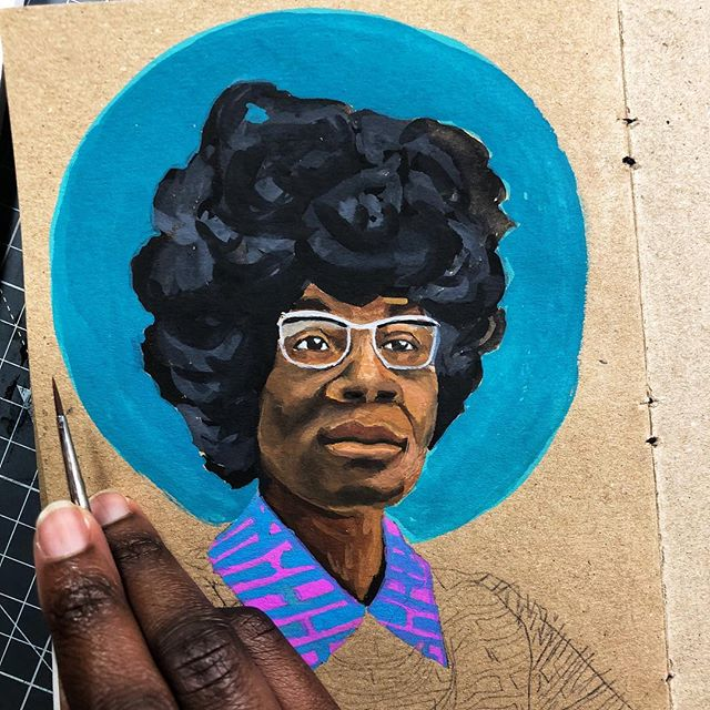 #ShirleyChisholm was the first woman to ever run for President! She was also the first black congresswoman. Chisholm was one of the members of Congress that supported the#EqualRightsAct, that would have been an amendment to the constitution guaranteeing equal rights to all citizens regardless of sex. Unfortunately the act did not have enough votes, but Chisholm's speech about the act is legendary.  I am always struck by her amazing fashion sense when I see her. She was obviously no stranger to styles that made her stand out! Big hair , fashionable glasses 👓 , she looked good while working hard! (Oh, and of she's the child of two #westindians!) • • • • • #gouache #gouachepainting #gouacheportrait #blackhistorymonth #blackhistory #congress #politics #rebelgirls #artistsoninstagram