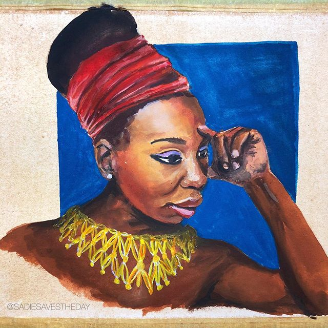 #NinaSimone was an #AfricanAmerican #singer, #pianist, and #civilrights #activist. Nina was a piano playing prodigy, and dedicated nearly every hour of her early years to practicing. When she was rejected from the Curtis Institute of Music in Philadelphia because of her race, it scarred her in a way that would last the rest of her life.  Since she wasn't accepted to school, she had to find a way to make money, and that is how Eunice Kathleen Waymon became Nina Simone. I always have strong emotions when I look at or think of Miss Simone. You can see how hopeful she was as a young woman, and the deep sadness when she was older. Despite carrying all this sadness ( she was so fed up with racism in the USA that she moved to France ) she still worked to try and help others see their own beauty and worth, even if she herself was constantly being told she was ugly and worthless. (Many of the women in this series struggled with feeling ugly since they didn't fit eurocentric beauty standards.) Nina Simone was beautiful, strong, and amazing. Her birthday was yesterday and she would have been 85. Happy birthday Nina! 🎂 • • • • • #gouache #blackhistory #blackhistorymonth #beauty #portrait #headwrap #regal #artcommunity #goodgouache #feminist #rebelgirls #illustratedwomen #illustration