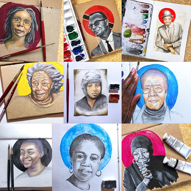 Here are all of the paintings from last month together! I've always wanted to do this for #blackhistorymonth, and I'm so glad I got to do it this year.  I kind of started thinking about who to paint today out of habit! 😂  Thank you again to all you kind voices! If you are interested in having one of these for your own, prints are available at the link in my profile. And if there is someone you would like to see painted that I haven't featured, I am always open for commissions! I'd love to paint a portrait just for you! 😃 (btw swipe to see a flip through!• • • • • #blackhistory #africanamerican #westindian #afrolatina #lbgt #westindianhistorymonth #trini #gouache #watercolor #portrait #portraitpainting #zornpalette #inkandwash #penandink #artistsoninstagram #illustratorsoninstagram #womenwhopaint #illustration #illustratedwomen #womenwhodrawwomen