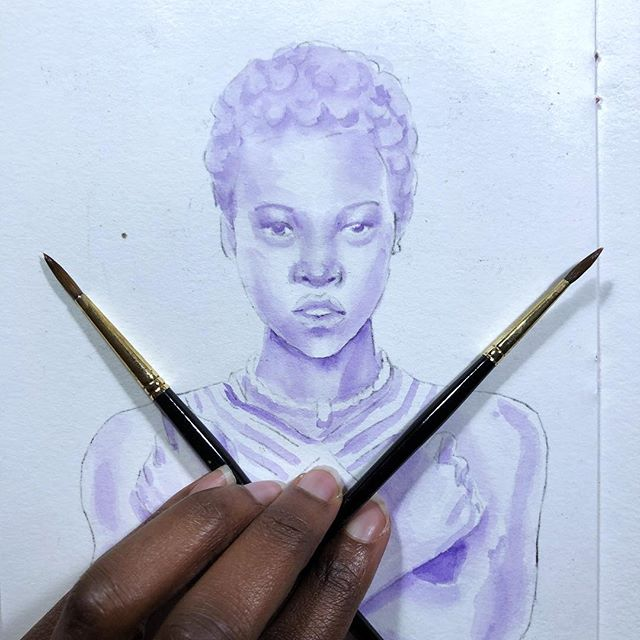 I just got to see #blackpanther (late, I know!) and I just had to paint some #fanart of #LupitaNyongo's #Nakia! She any favorite character. So here is the underpainting in purple. (Btw did you know the actor who played #mbaku is #trini?!) • • • • • #underpainting #wakanda #wakandaforever #portrait #watercolor #purple #painting #artistsoninstagram #artoninstagram #wip #workinprogress #sketch #sketchbook #blackpantherfanart