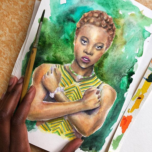 I love how each of the characters has their own color! #blackpantherfanart #blackpanther #blackpanthermovie #lupitanyongo #green #wakandaforever #wakanda #watercolor #portraitpainting #portrait #colorsplash_of_our_world #colors_of_day