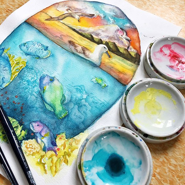 So excited to be a part of the #animalartistscollective this month! Our theme was #oceans and coasts and I painted this scene which incorporates the #humpheadwrasse , the #yellownosedalbatross , and the #firecoral. I had so much fun! Click the link in my profile to see the YouTube video and check out the videos from the other ladies in the Collective! #animal #artist #illustration #endangered #species #wildlife #watercolor #colorsplash #colorlove #sunset #beach