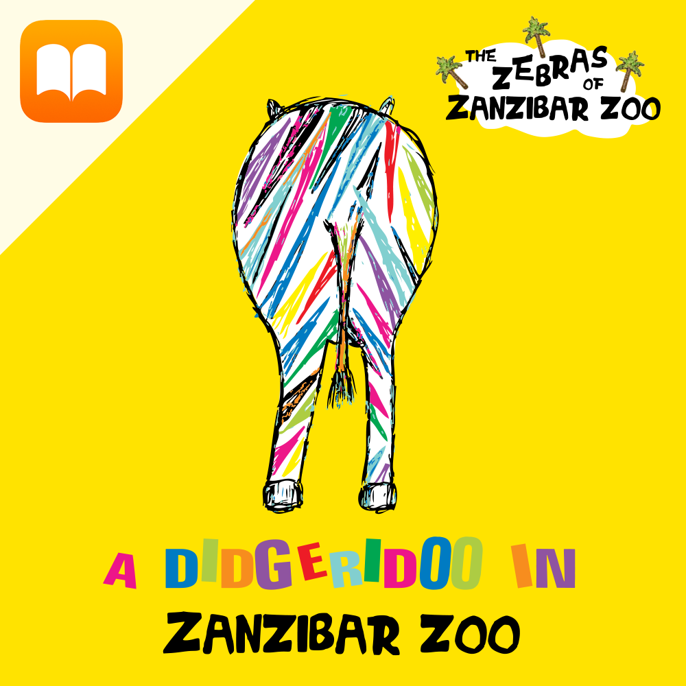 Children's iBook 'A Didgeridoo in Zanzibar Zoo'. When the quietest zebra in Zanzibar Zoo finds a strange musical stick in the desert, she is desperate to find out whom it belongs to! Will she find the courage to ask the other animals in the Zoo for help? A magical tale about exploration and discovery.Audio narration from Brian Fenwick.