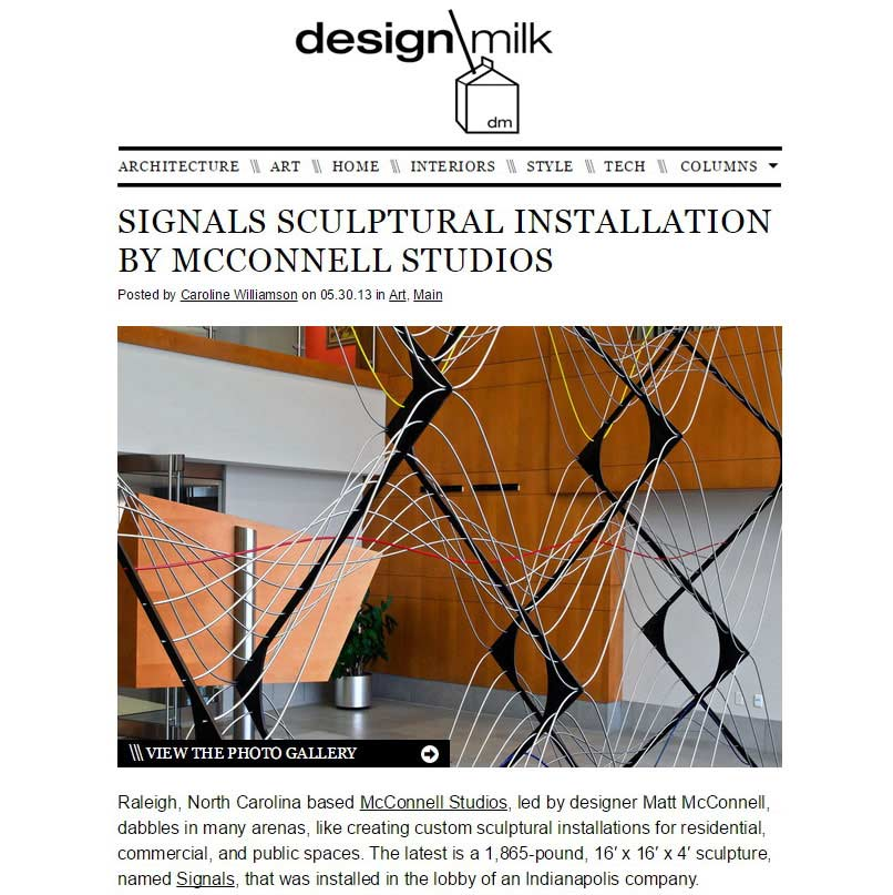 Design Milk feature on the 'Signals' sculpture for Belden in Indianapolis