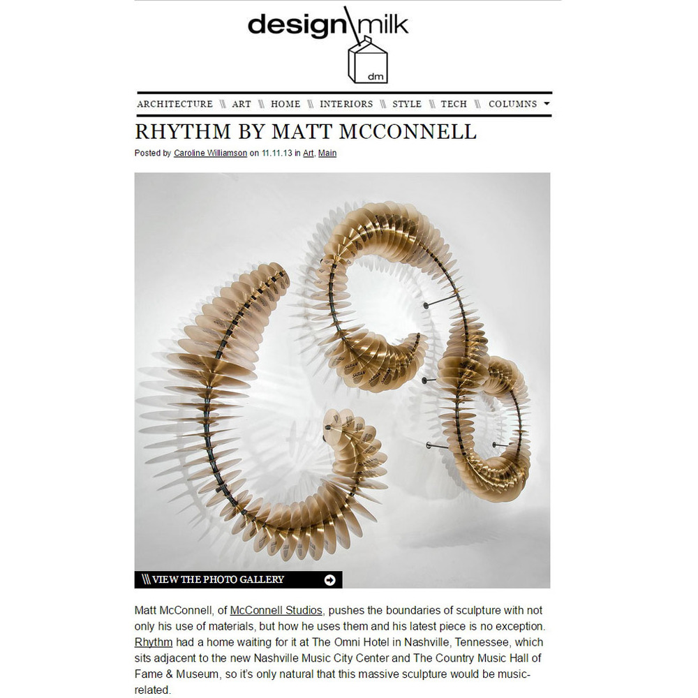 Design Milk feature on 'Rhythm' - The Sabian cymbal sculpture