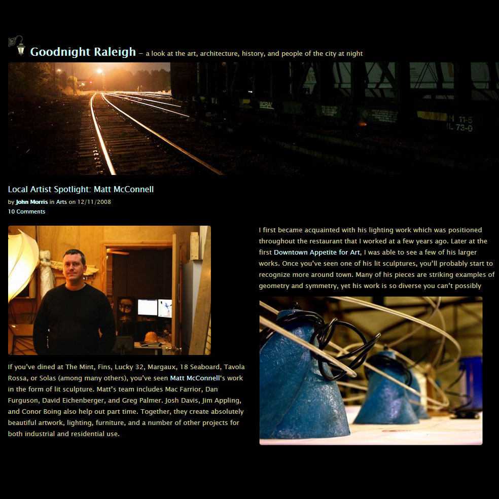 Goodnight Raleigh feature on Matt and his work