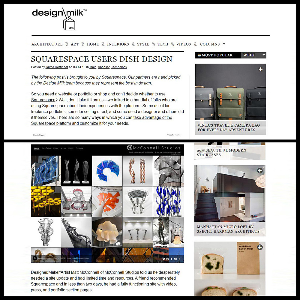 DesignMilk feature on Squarespace including details about the website